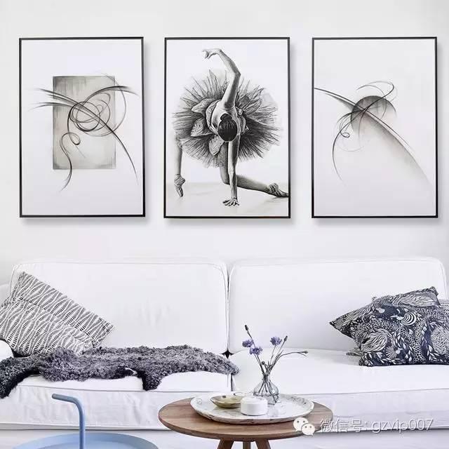 工匠创意有框画客厅简约三联竖画过道走廊挂画素描喷绘人物装饰画-图片
