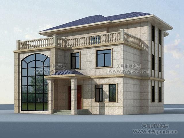 远大三层别墅设计图,14.9x12.9米欧式挑空v远大!别墅农村照片样板房图片