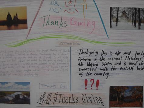 今天感恩节,小学生感恩节英语手抄报一览