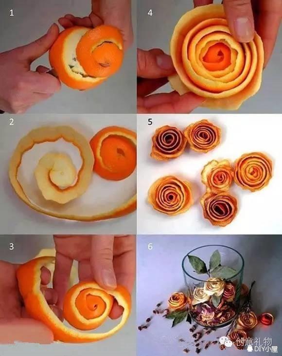 利用橙子皮手工diy制作漂亮花朵的方法图片