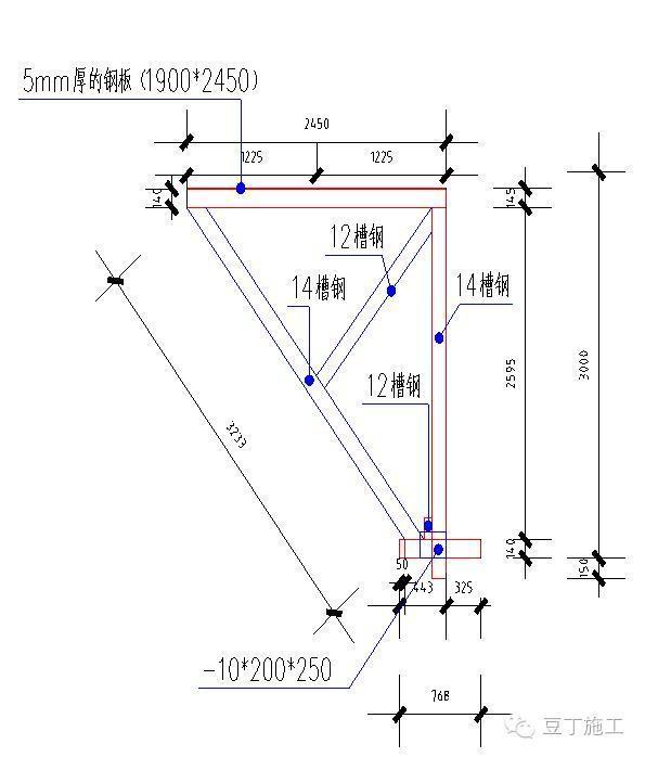 采用14和12型号的槽钢,上部横向采用四根14的槽钢和竖向三根14的槽钢