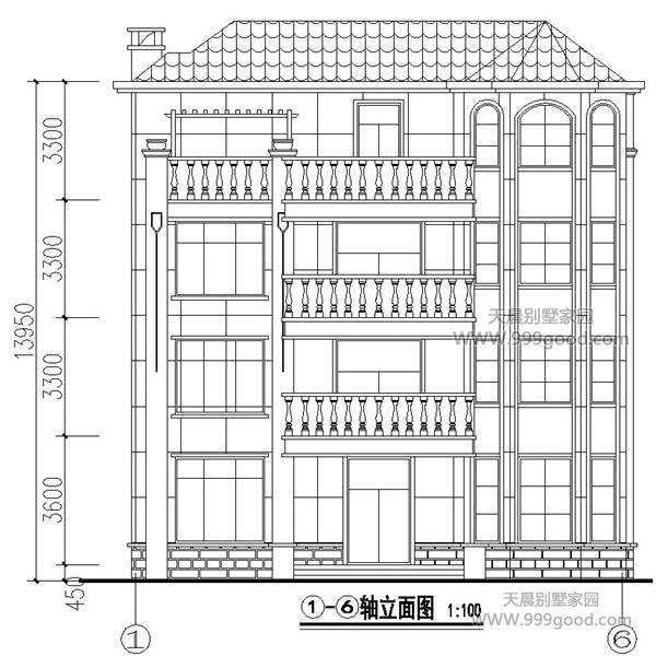 12.4x13.6米别墅设计图平面图,四层欧式豪华风图片