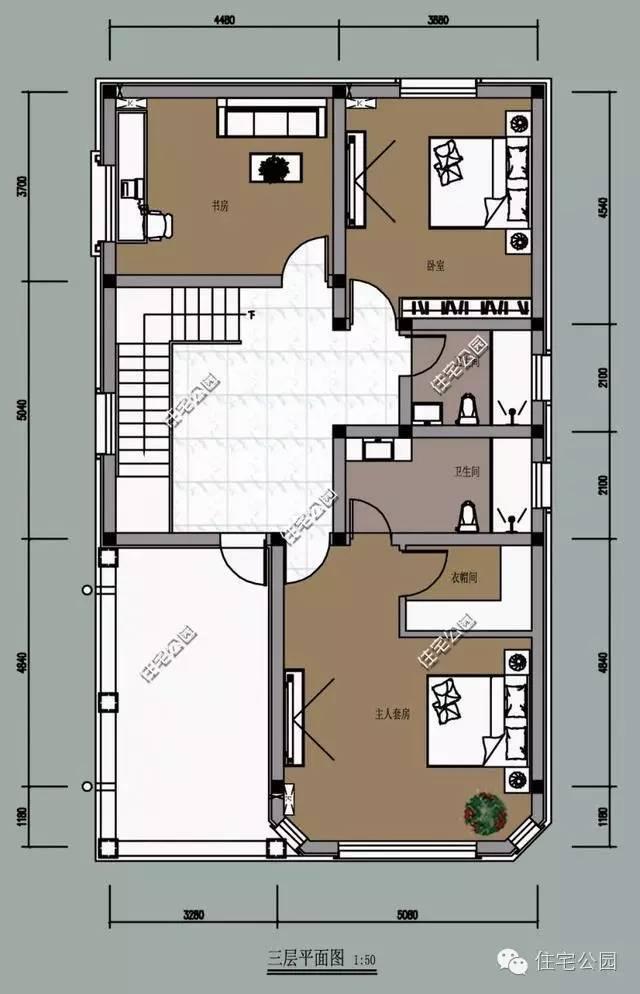 新农村自建房2套 3层8米面宽哪个好?含平面图