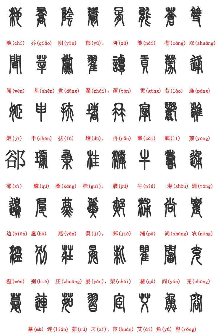 百家姓 篆书简体对照表,帮你了解书画印章