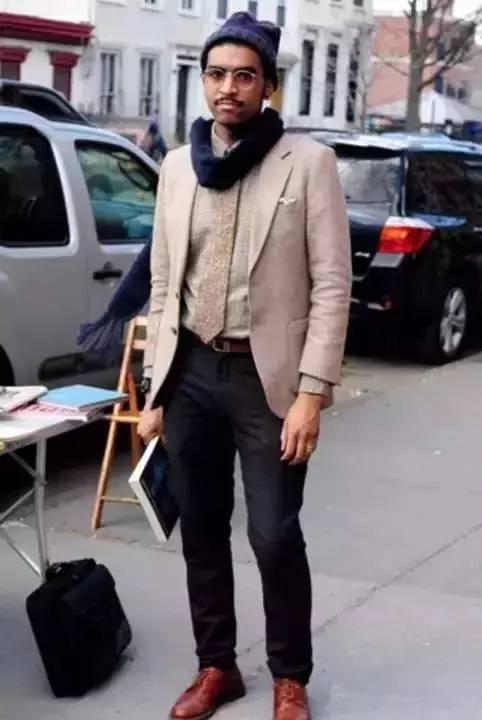 男士编织皮带街拍
