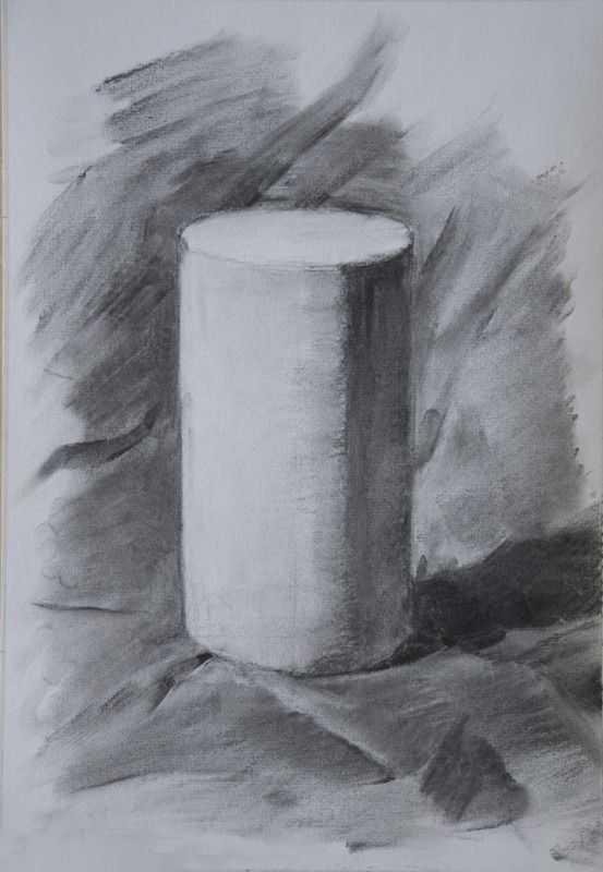 素描 四方体圆形圆柱形 等几何体的起笔跟明暗画法图片