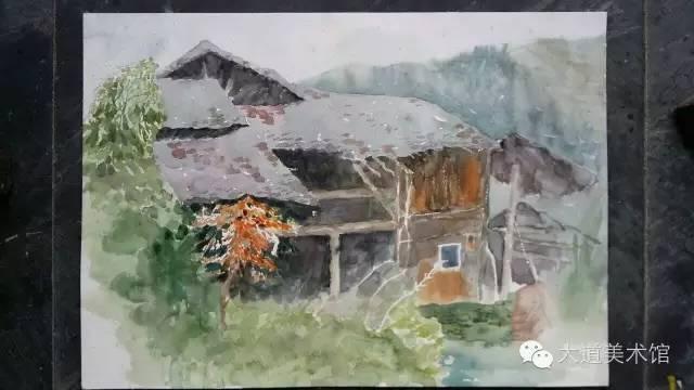 江西婺源速写水彩图片