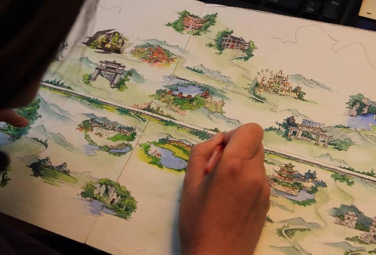 贵阳女孩手绘沪昆高铁!500多公里美景尽收1米画卷中