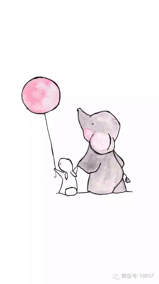 大象卡通图片大图 可爱卡通手绘大象兔子手机壁纸