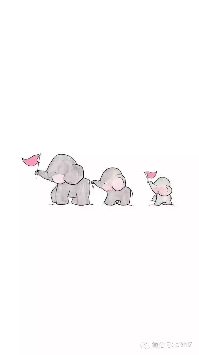 可爱卡通手绘大象兔子手机壁纸