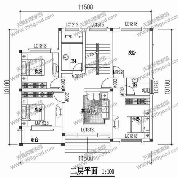 农村别墅设计图,11.5X10米现代 2间),客厅,阳台