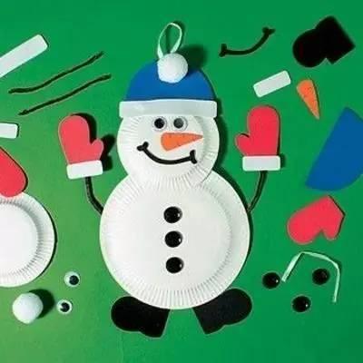 幼儿幼儿纸盘手工制作雪人