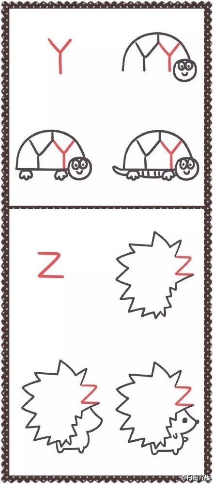 超萌字母简笔画教程,字母秒变小动物