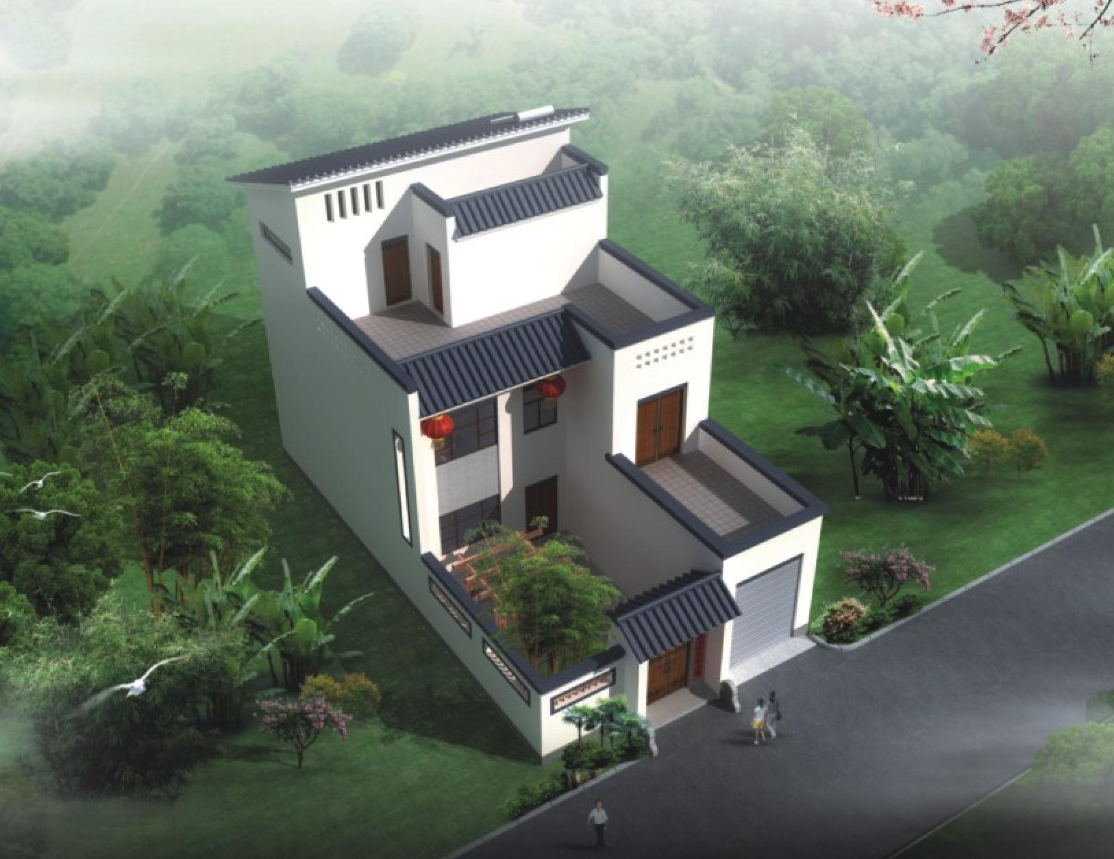 新中式农村别墅 9米面宽 带车库庭院露台含平面图