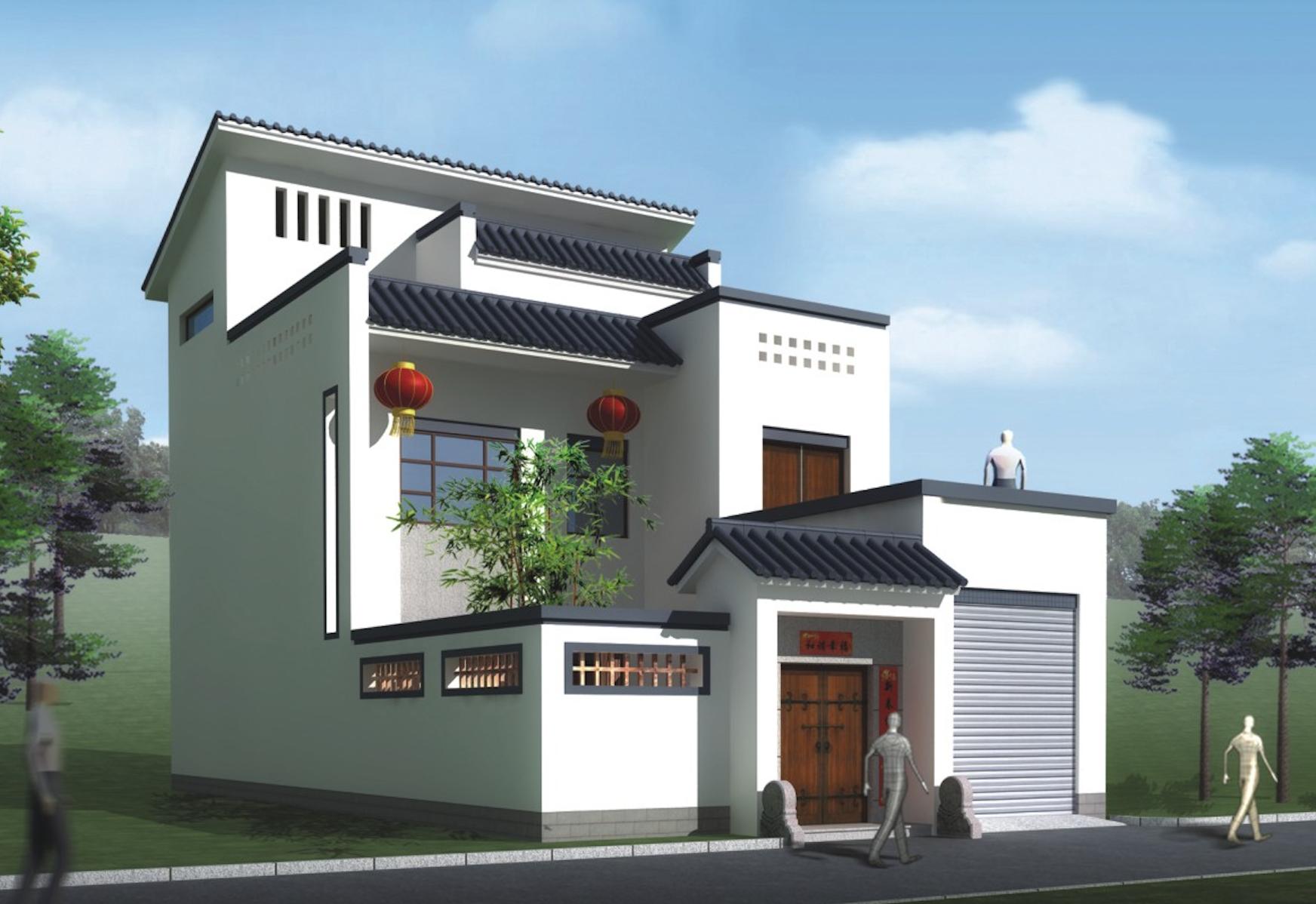 新中式农村别墅 9米面宽 带车库庭院露台含平面图图片