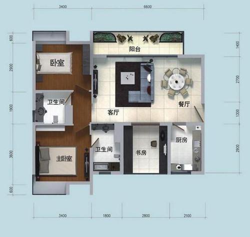 100平米房子户型图