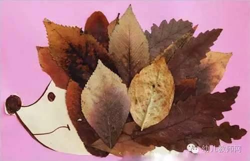 树叶粘贴画教程