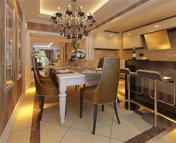 欧式别墅装修效果图-开放式厨房餐厅吊顶吧台装修
