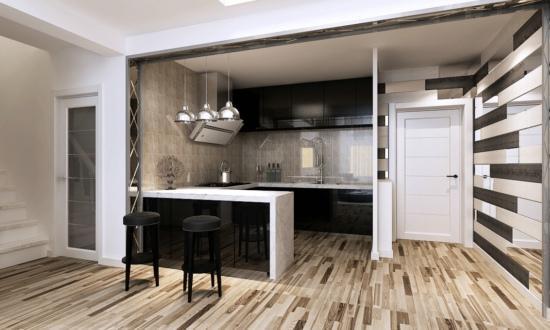 6米的吧台立面隔开了客厅与开放式厨房,让家居看上去加大了一些视觉上图片
