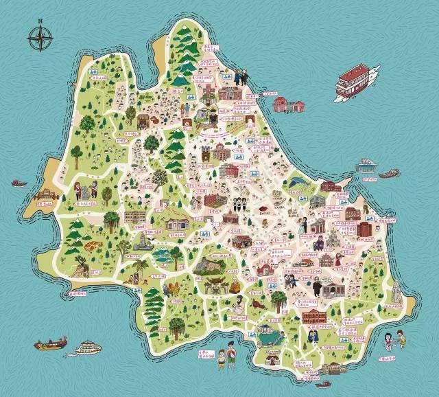 鼓浪屿手绘地图:鼓浪屿游览区管理处提供
