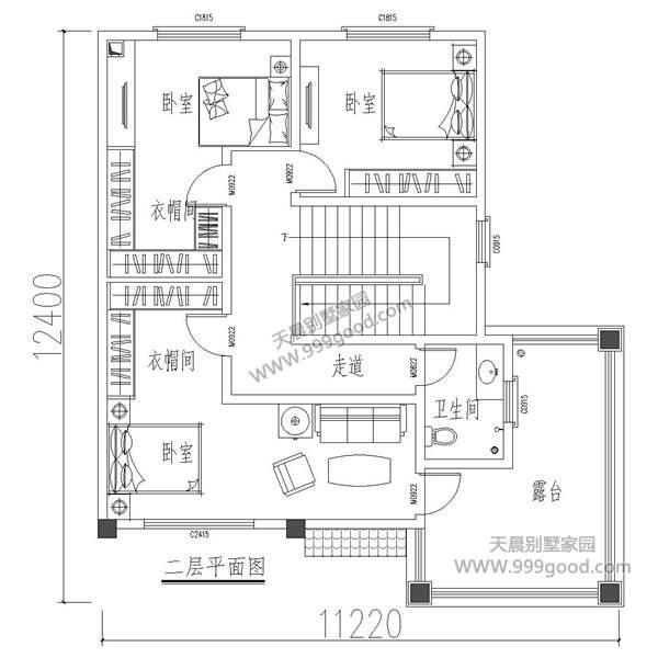 12.4x11.3米两层别墅设计图,超级适合农村的户型图片