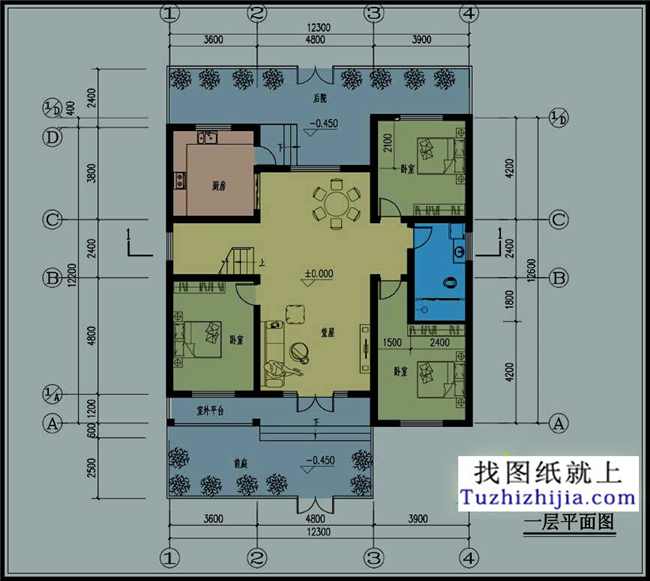 3米 建筑结构:砖混结构 施工图(建施图)共8张,一层效果图1张.