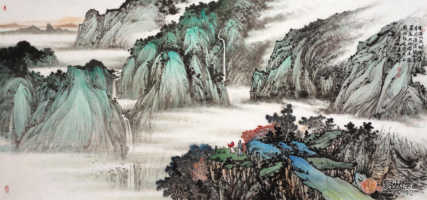 名人字画作品 林德坤写意山水画《春山云起图》作品来源:易从网-易