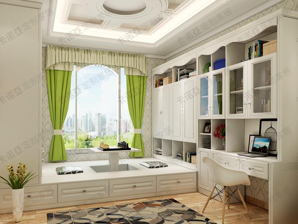 简欧卧室榻榻米设计,与书柜和书桌连体设计