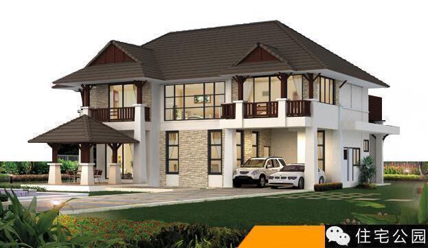 此乡村别墅有2层,坡屋顶的造型优美,富有层次感,它注重与周围环境的互