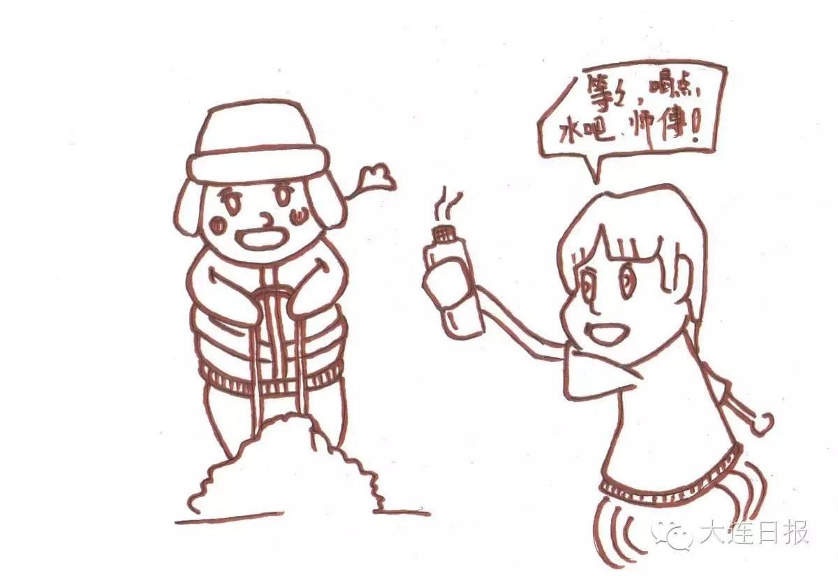 简笔画交警-超Q原创漫画告诉你,大连冬天的温暖原来是这样的
