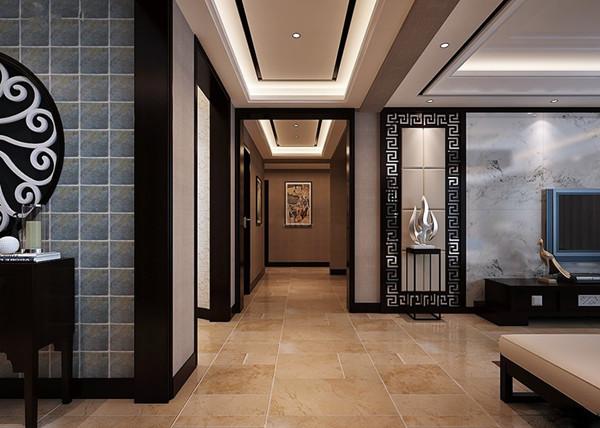 中式别墅装修效果图-室内过道瓷砖地砖装修效果图图片