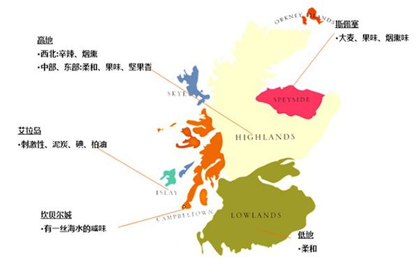 苏格兰单一麦芽威士忌地图图片