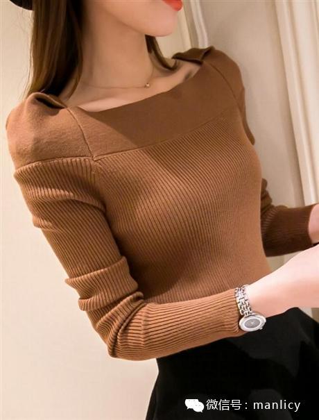 春装新款女装外套新款韩版一字领针织衫修身显瘦短款打底衫毛衣女图片