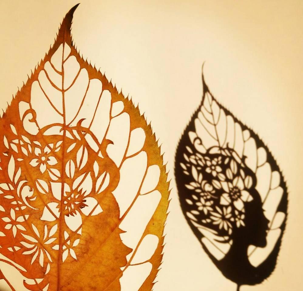 太美啦!这个青岛小嫚剪纸剪到了树叶上~图片