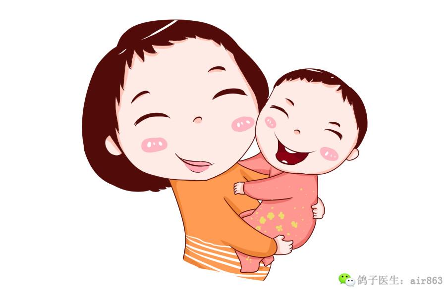 孩子抱着妈妈哭手绘