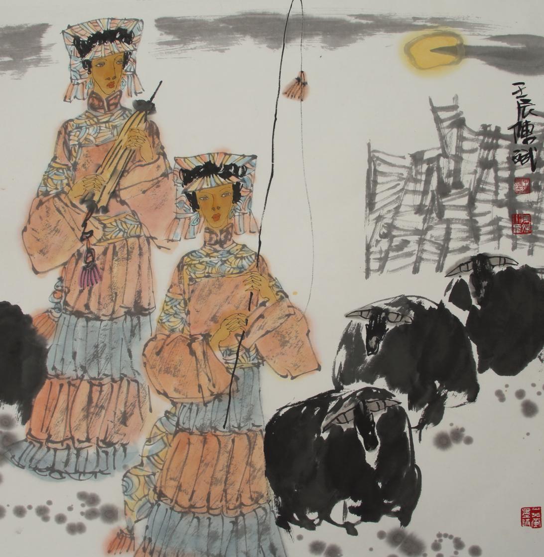 《彝女》 (纸本) 68×68cm 2012年 陈斌作品参展年历 1989年 《往复图片