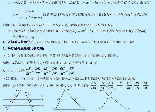期末送给:初中初中必背教案数学!必备章节啦!数学小结公式孩子大全图片