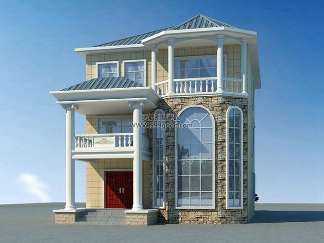 农村欧式别墅设计图,挑空设计只需20万!图片