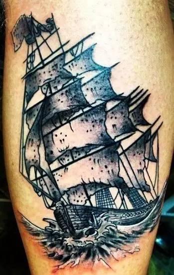 帆船手绘纹身图片大全