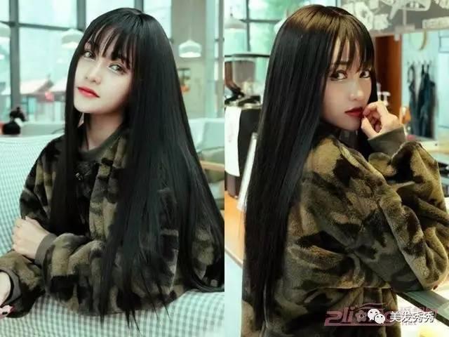 下面我们就来看看五位mm为我们展示的时尚百变的空气刘海长发发型吧!图片