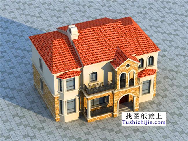 欧式经典二层小别墅设计图纸带外观效果图