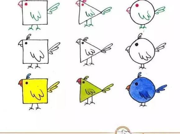 孩子如何用简单的几个图形 包括正方形,三角形,园 来画出可爱的小动物图片
