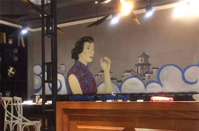 美食广场墙绘图片