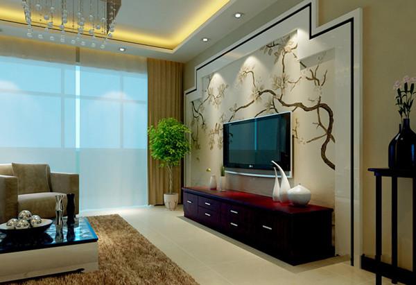 简约风格客厅落地窗背景墙装修效果图图片