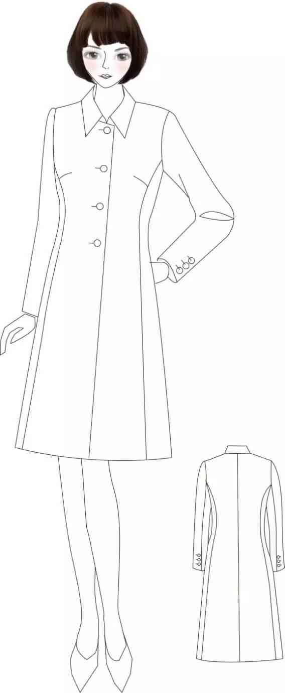 呢大衣手绘效果图