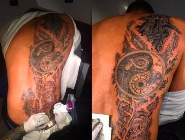 众所周知,邓肯对于汽车情有独钟,最近他还弄出了图中这样的纹身.
