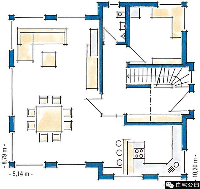 此别墅有两层,砖混结构建造,客厅的周围采用落地窗的装修风格,可以