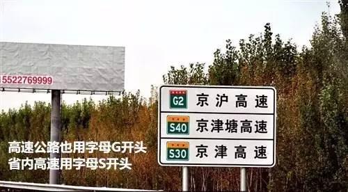 在路牌标识中高速公路与国道相同用字母g开头,如g2高速,省内高速则用s开头,如s30高速等,并且均为白色字体,绿色底色,并且上放有红色或黄色横条(黄色为省内高速).