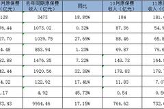 【财报解析】上市险企前11月原保费同比增17.15%,环比持续下行