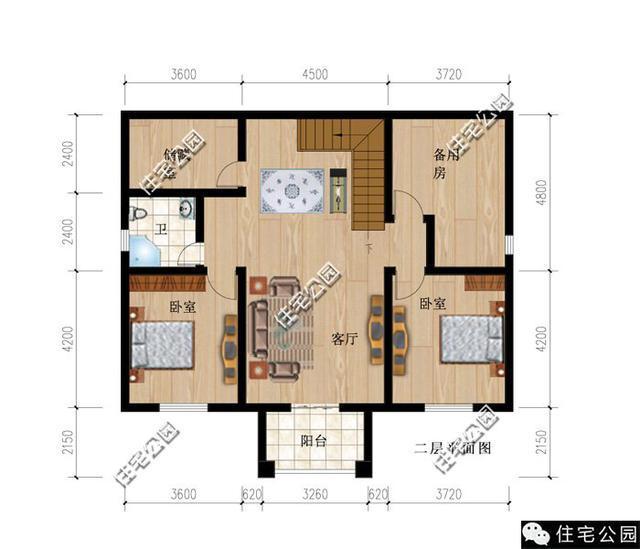农村小户型别墅设计图】60-90平方米,两层,二层半或三我就知道